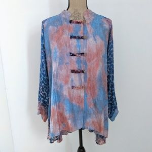 Silk Skye Watercolor Blouse Cardigan Blue & Pink